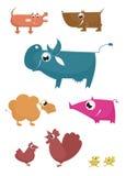 Animales del campo divertido de la historieta Imágenes de archivo libres de regalías