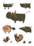Animales del campo divertido de la historieta Fotos de archivo libres de regalías