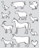 Animales del campo fijados Imágenes de archivo libres de regalías
