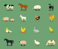 Animales del campo fijados en estilo plano del vector Fotos de archivo