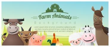 Animales del campo y fondo rural del paisaje ilustración del vector