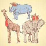 Animales del inconformista, fondo del vintage del vector Fotografía de archivo