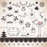 Sistema de la Navidad del vintage Imagenes de archivo