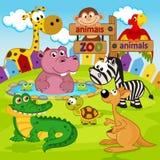 Animales del parque zoológico stock de ilustración