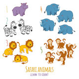 Animales del safari: aprenda contar a partir la uno a cinco Imagen de archivo libre de regalías