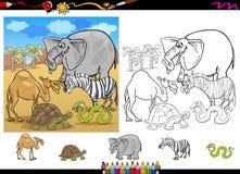 Animales del safari que colorean el sistema de la página Imágenes de archivo libres de regalías