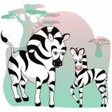 Animales del salvaje Animales del parque zoológico Cebra y cebra del bebé ilustración del vector