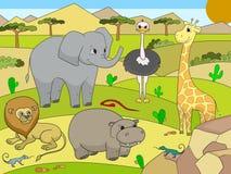 Animales del vector de la sabana de África para los adultos Fotografía de archivo