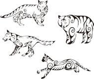Animales despredadores en estilo tribal Imagen de archivo libre de regalías