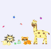 3 animales diseño divertido, león, tigre, girrafe Fotografía de archivo libre de regalías