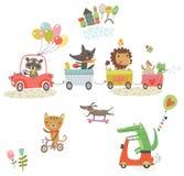 Animales divertidos Caminata alegre Sistema del vector Imagen de archivo libre de regalías