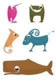 Animales divertidos de la historieta Fotografía de archivo