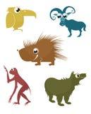 Animales divertidos de la historieta Imagenes de archivo