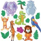 Animales divertidos de la historieta: selva y África Imagen de archivo libre de regalías