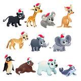 Animales divertidos de la Navidad ilustración del vector