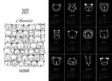 Animales divertidos, diseño del calendario 2019 libre illustration