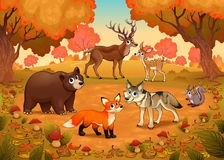 Animales divertidos en la madera ilustración del vector