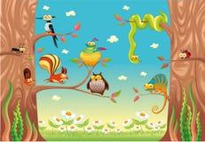 Animales divertidos en ramificaciones. stock de ilustración