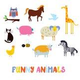 Animales divertidos fijados - diseño simple Imagenes de archivo
