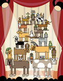 Animales domésticos acrobáticos stock de ilustración