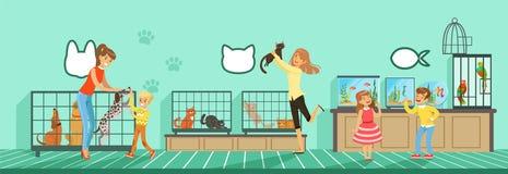 Animales domésticos de compra de la gente del ejemplo de la tienda del animal doméstico en estilo plano ilustración del vector
