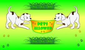 Animales domésticos de la bandera permitidos ilustración del vector