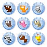 Animales domésticos de la granja de los botones Foto de archivo libre de regalías