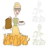Animales domésticos de señora Feeding Food To Her del gato Fotografía de archivo libre de regalías