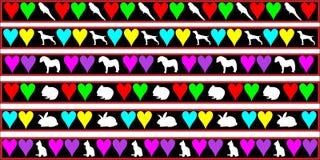 Animales domésticos, perro, gato, frontera del conejo Fotos de archivo