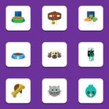 Animales domésticos planos del icono fijados del collar del perro, oseo, objetos de Cat Eating And Other Vector También incluye e stock de ilustración