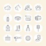 Animales domésticos que preparan la línea iconos de la tienda fijados Imagen de archivo libre de regalías