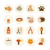 Animales domésticos que preparan los iconos de la tienda fijados Fotos de archivo