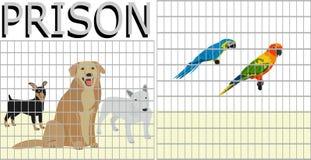 Animales domésticos que son cerrados en una jaula por la gente similar a una prisión ilustración del vector