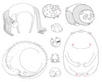 Animales el dormir fijados stock de ilustración