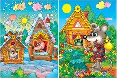 Animales en casas coloridas Fotografía de archivo libre de regalías