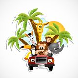 Animales en el coche stock de ilustración