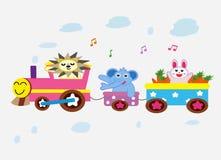 3 animales en el diseño divertido del tren Foto de archivo
