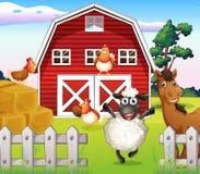 Animales en la granja con un barnhouse stock de ilustración