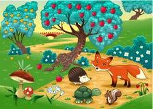 Animales en la madera. stock de ilustración