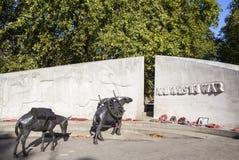 Animales en monumento de guerra en Londres Fotografía de archivo