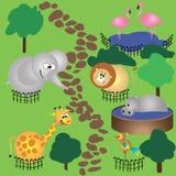 Animales en parque zoológico Stock de ilustración