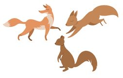 Animales exhaustos planos aislados historieta libre illustration
