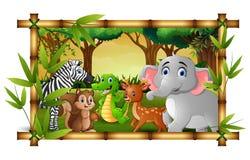 Animales felices en bosque del marco del bsmboo stock de ilustración