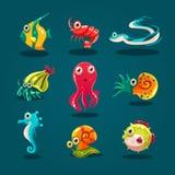 Animales lindos de la historieta de las criaturas de la vida marina fijados Foto de archivo