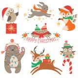 Animales lindos de la Navidad Foto de archivo