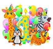 Animales lindos de la primera composición del cumpleaños ilustración del vector