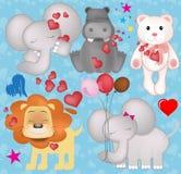 Animales lindos de la tarjeta del día de San Valentín en gráficos del amor fotografía de archivo libre de regalías