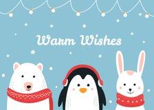 Animales lindos del arbolado Caliente los deseos la Navidad y la tarjeta del vector de las vacaciones de invierno Fotografía de archivo