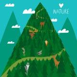 Animales lindos del arbolado en el bosque ilustración del vector