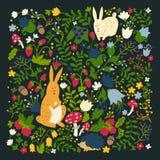 Animales lindos en diseño mágico del vector del bosque Ejemplos del conejo y del erizo de la historieta para el bebé en fondo osc stock de ilustración